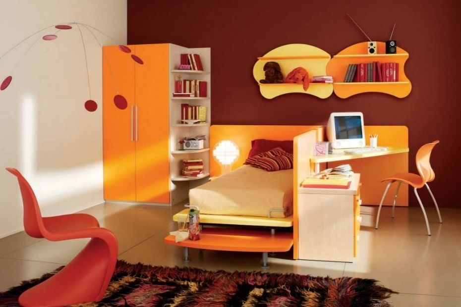 bedroom furniture in yellow color