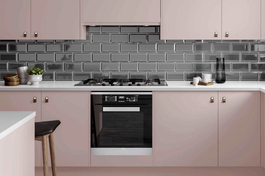 kitchen furniture in pink color