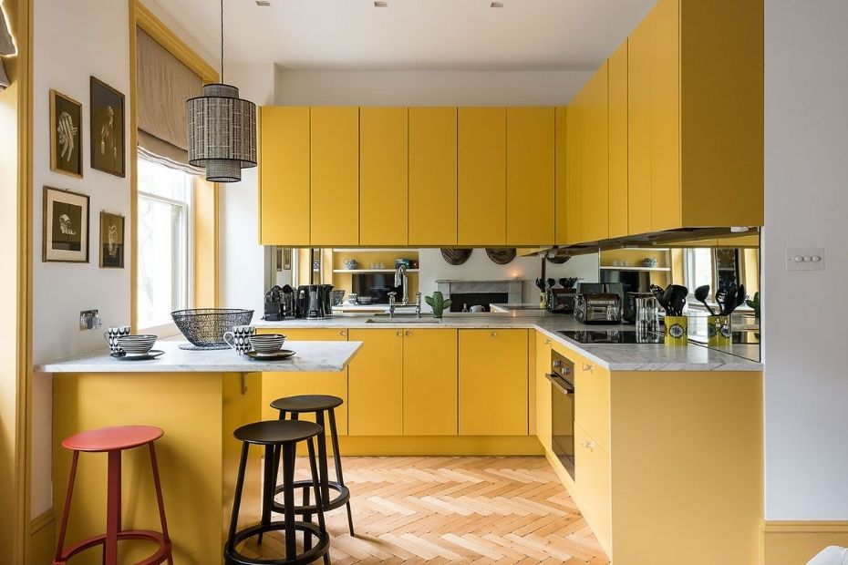 kitchen furniture in yellow color