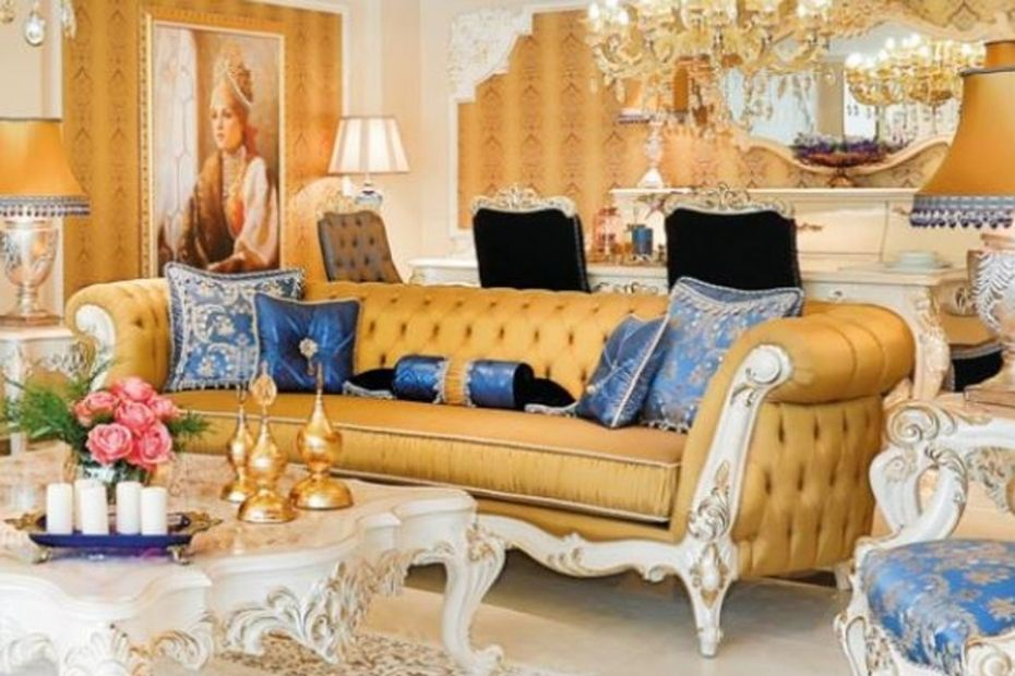 living room furniture in yellow color